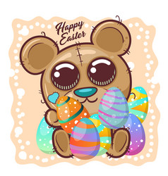cute bear with happy easter egg vector image