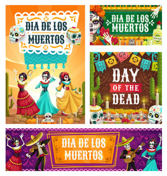 day dead dancing skeletons and sugar skulls vector image