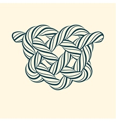 Decorative heart knot made of rope vector image