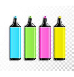 design set of realistic colored highlighter pens vector image