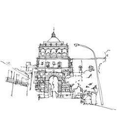 Drawing sketch porto nuovo in palermo sicily vector
