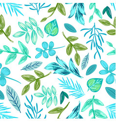 Drawn plants seamless pattern vector