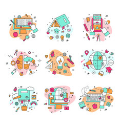 Education icons educational vector