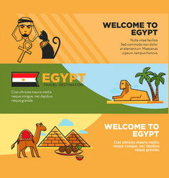 Egypt travel destination promotional tour agency vector