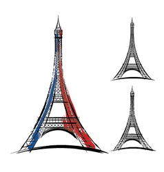 eiffel tower on white background vector image