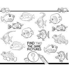 Find two identical pictures coloring page vector