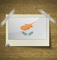 Flags Cyprus at frame on a brick background vector image