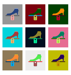 flat assembly icons of shoes discounts vector image