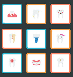 Flat icons decay brace implantation and other vector