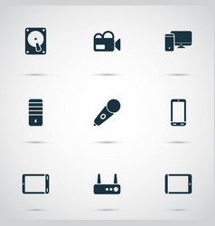 gadget icons set with palmtop phone video camera vector image