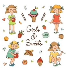 Girls and sweets vector