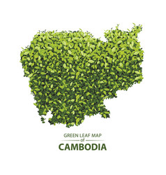 Green leaf map of cambodia vector
