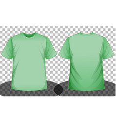 green short sleeve t-shirt front and back side vector image