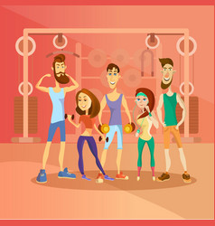 group people working out in a gym and dressed vector image
