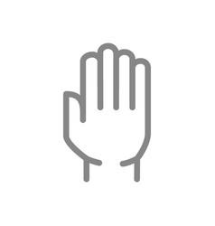 human hand line icon stop gesture symbol vector image