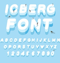 Iceberg font 3D letters of ice Ice alphabet letter vector image