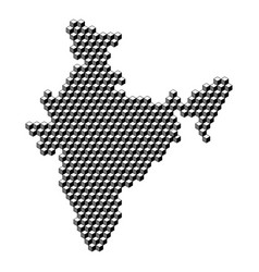 India map from 3d black cubes isometric abstract vector