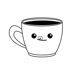 kawaii coffee cup beverage drink break office icon vector image