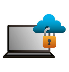 laptop cloud computing protection secure data vector image