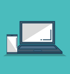Laptop computer with smartphone isolated icon vector