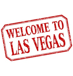Las Vegas - welcome red vintage isolated label vector
