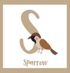 Letter s vocabulary sparrow bird vector