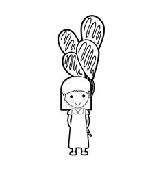 line cute girl with balloons in the hand vector image