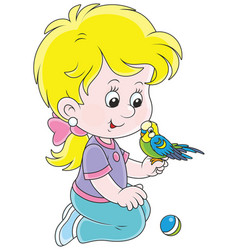 little girl and her budgerigar vector image