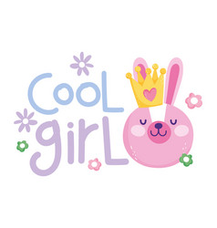 Little rabbit face with crown cool girl cartoon vector