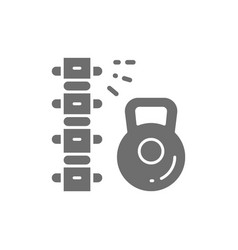 Load on spine backache low back pain grey icon vector
