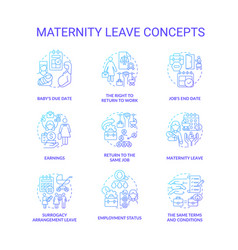 Maternity leave related blue gradient icons set vector