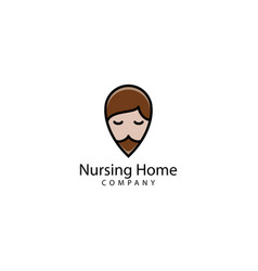 Nursing home pin logo design vector