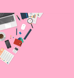 office workspace with stationery in top view vector image