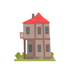Old two storey house with red roof retro vector