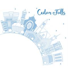 Outline cedar falls iowa skyline with blue vector
