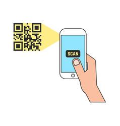 Outline smart phone scanning qr code vector