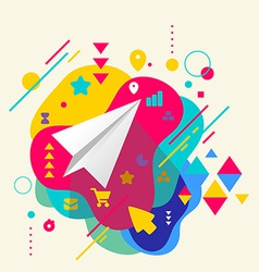 Paper airplane on abstract colorful spotted vector image