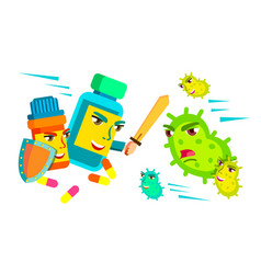 pill fighting with sword and shield against vector image