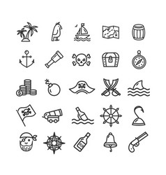 pirate signs black thin line icon set vector image