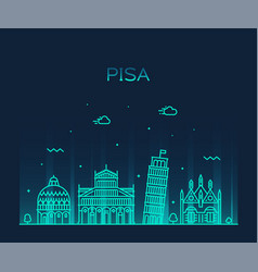 Pisa skyline italy linear style city vector