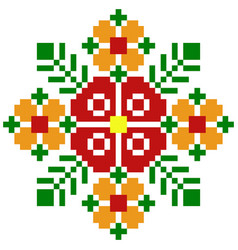 Pixel flower image for game assets vector