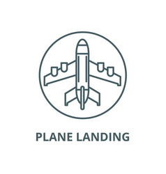 plane landing line icon linear concept vector image