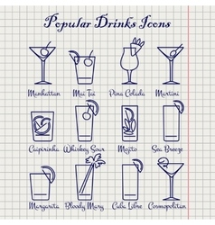 Popular drinks ink icons set vector image