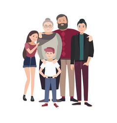 portrait of happy family smiling grandfather vector image