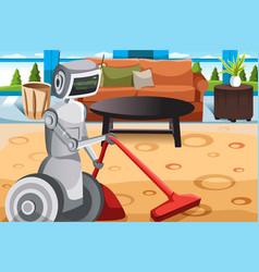 Robot vacuuming carpet vector