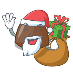 santa with gift chocolate candies mascot cartoon vector image