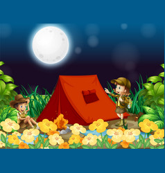 Scene background design with kids camping out at vector