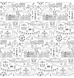 Seamless hand drawn pattern with festival elements vector image