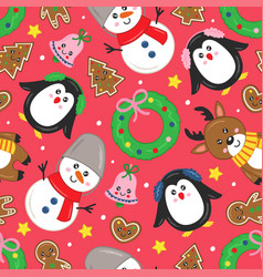 seamless pattern with christmas characters vector image