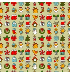 seamless pattern with christmas sketch drawing vector image